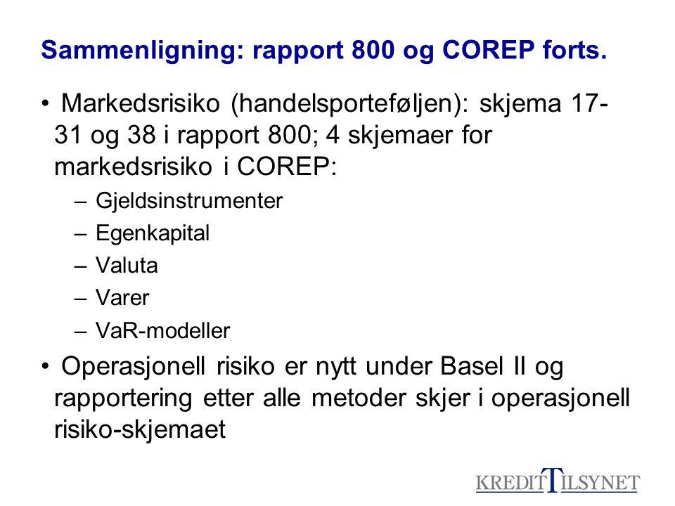 Sammenligning: rapport 800 og COREP forts. • Markedsrisiko (handelsporteføljen): skjema 17- 31 og 38 i rapport 800; 4 skjemaer for markedsrisiko i COR