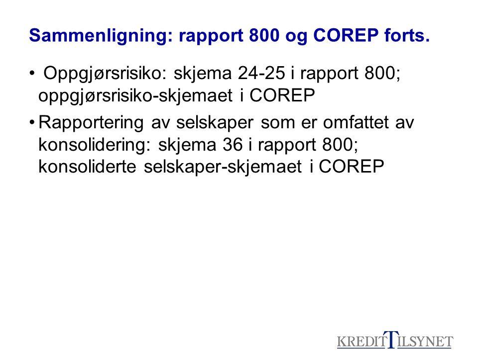 Sammenligning: rapport 800 og COREP forts. • Oppgjørsrisiko: skjema 24-25 i rapport 800; oppgjørsrisiko-skjemaet i COREP •Rapportering av selskaper so