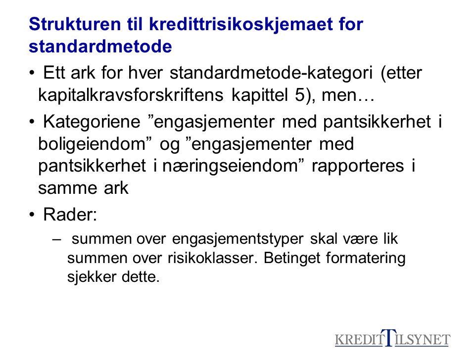 Strukturen til kredittrisikoskjemaet for standardmetode • Ett ark for hver standardmetode-kategori (etter kapitalkravsforskriftens kapittel 5), men… •