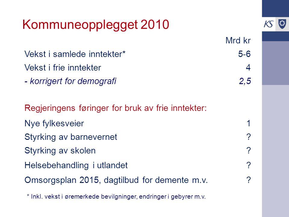 Kommuneopplegget 2010 Mrd kr Vekst i samlede inntekter*5-6 Vekst i frie inntekter4 - korrigert for demografi2,5 Regjeringens føringer for bruk av frie inntekter: Nye fylkesveier1 Styrking av barnevernet.
