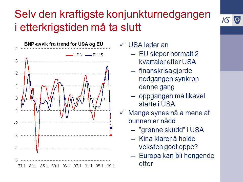 Selv den kraftigste konjunkturnedgangen i etterkrigstiden må ta slutt  USA leder an –EU sleper normalt 2 kvartaler etter USA –finanskrisa gjorde nedgangen synkron denne gang –oppgangen må likevel starte i USA  Mange synes nå å mene at bunnen er nådd – grønne skudd i USA –Kina klarer å holde veksten godt oppe.