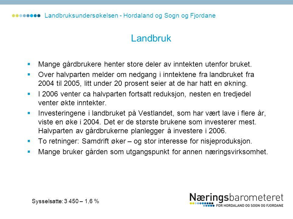 Landbruksundersøkelsen - Hordaland og Sogn og Fjordane Landbruk  Mange gårdbrukere henter store deler av inntekten utenfor bruket.  Over halvparten