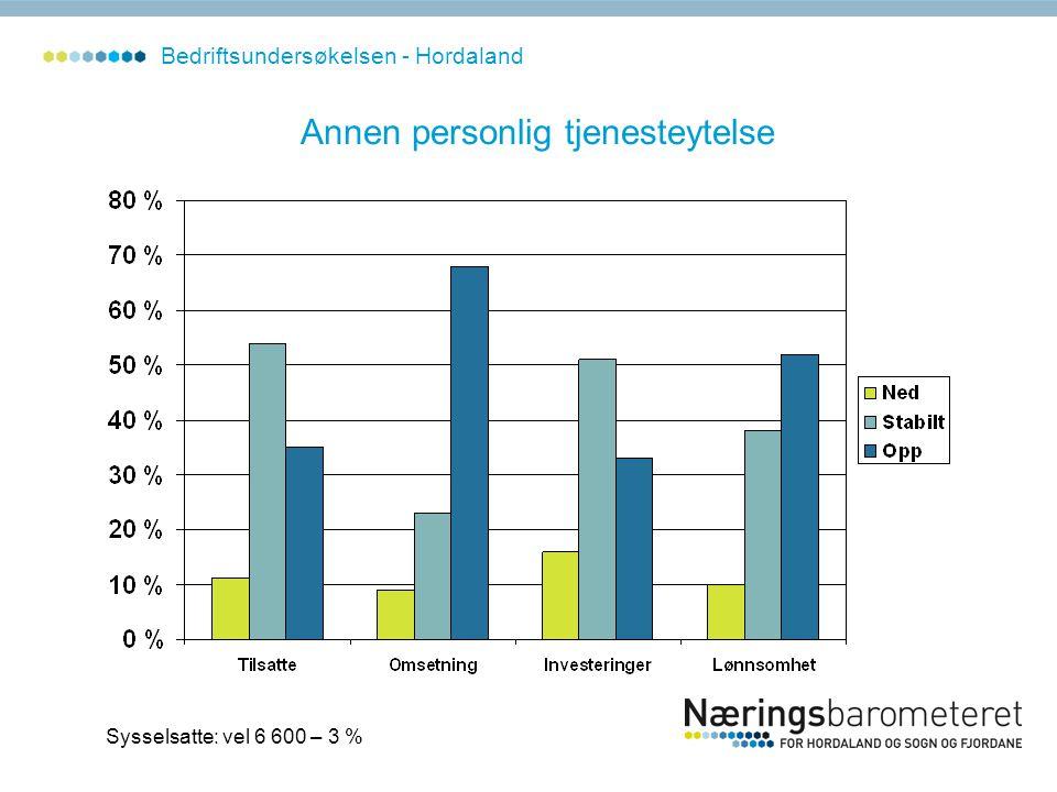 Annen personlig tjenesteytelse Sysselsatte: vel 6 600 – 3 % Bedriftsundersøkelsen - Hordaland