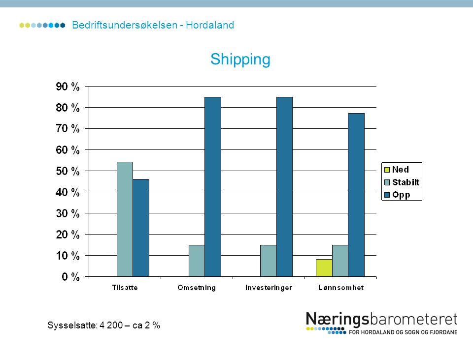 Sysselsatte: 4 200 – ca 2 % Bedriftsundersøkelsen - Hordaland