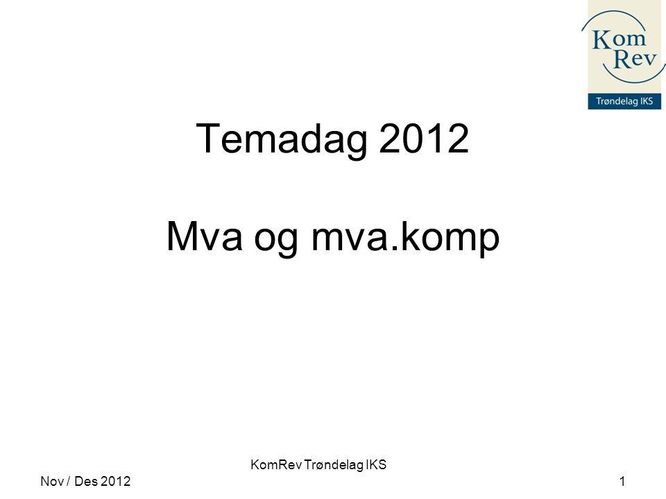 KomRev Trøndelag IKS Temadag 2012 Mva og mva.komp Nov / Des 20121