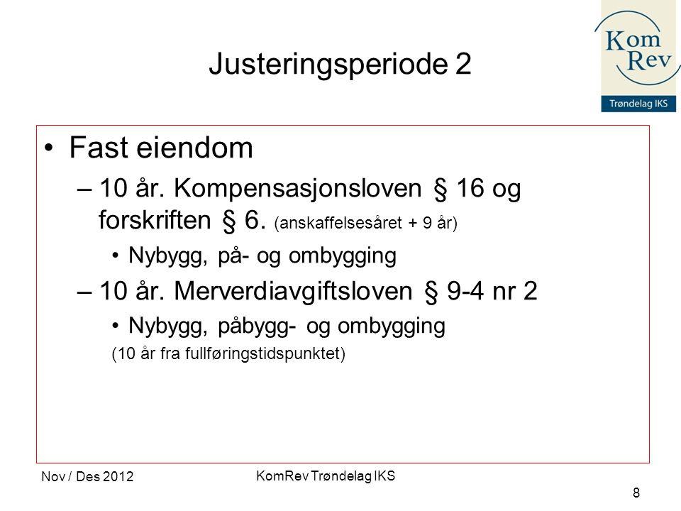 KomRev Trøndelag IKS Nov / Des 2012 8 Justeringsperiode 2 •Fast eiendom –10 år. Kompensasjonsloven § 16 og forskriften § 6. (anskaffelsesåret + 9 år)