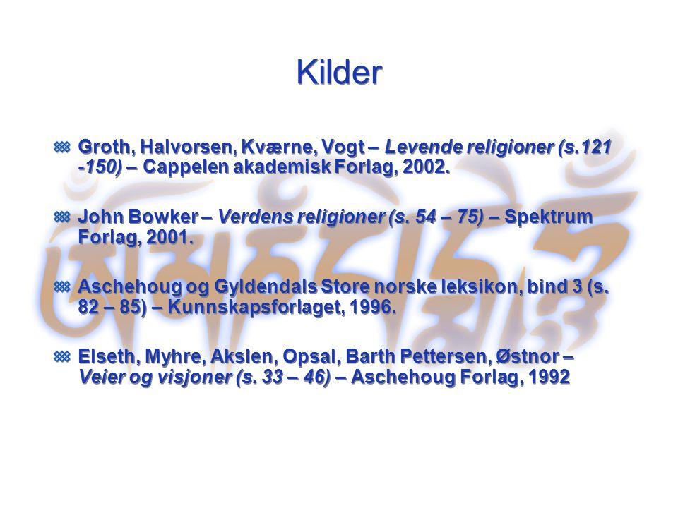 Kilder Groth, Halvorsen, Kværne, Vogt – Levende religioner (s.121 -150) – Cappelen akademisk Forlag, 2002. John Bowker – Verdens religioner (s. 54 – 7