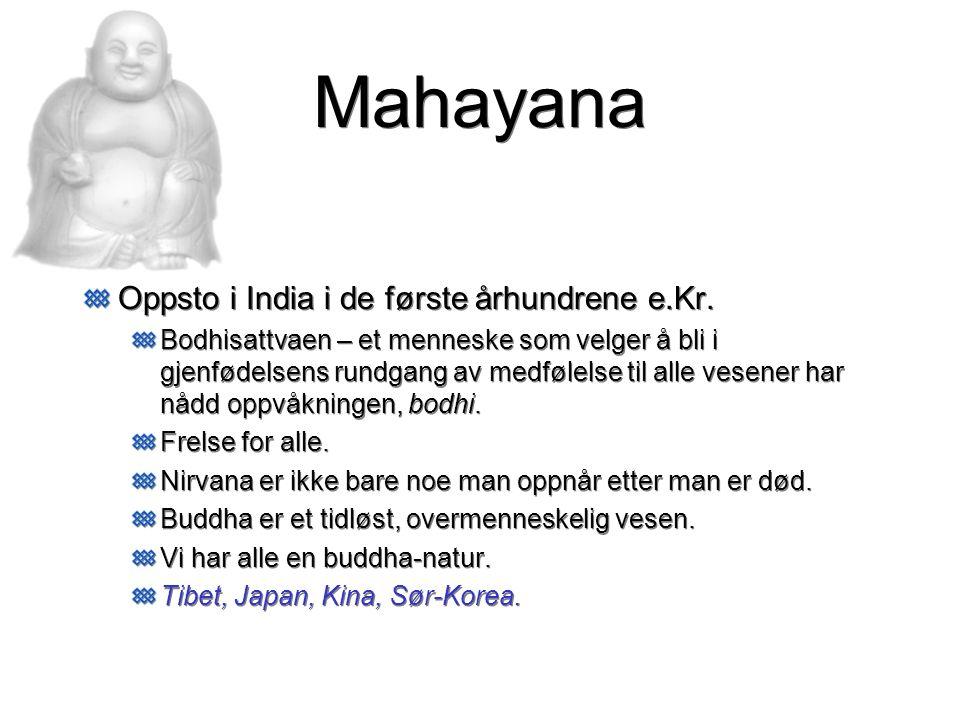 Mahayana Oppsto i India i de første århundrene e.Kr. Bodhisattvaen – et menneske som velger å bli i gjenfødelsens rundgang av medfølelse til alle vese
