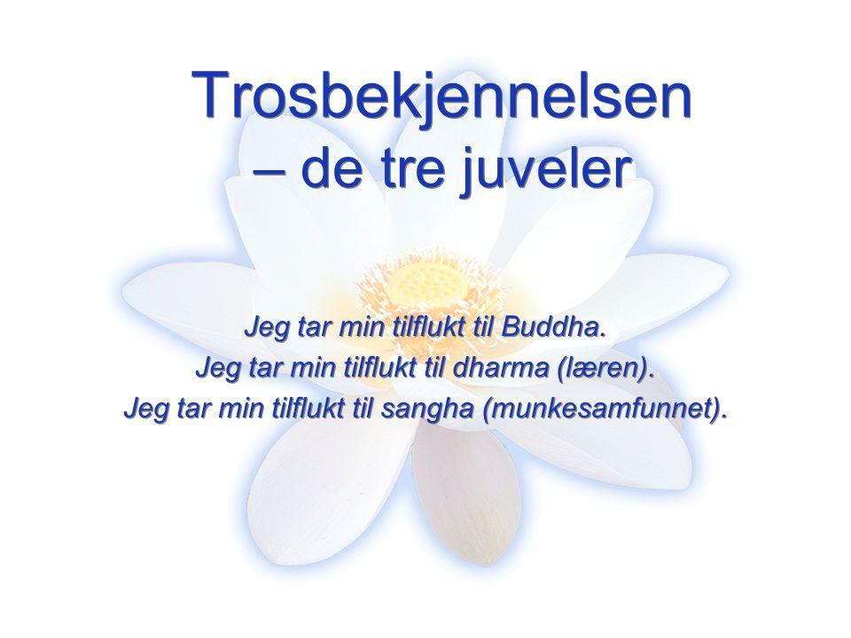 Trosbekjennelsen – de tre juveler Jeg tar min tilflukt til Buddha. Jeg tar min tilflukt til dharma (læren). Jeg tar min tilflukt til sangha (munkesamf