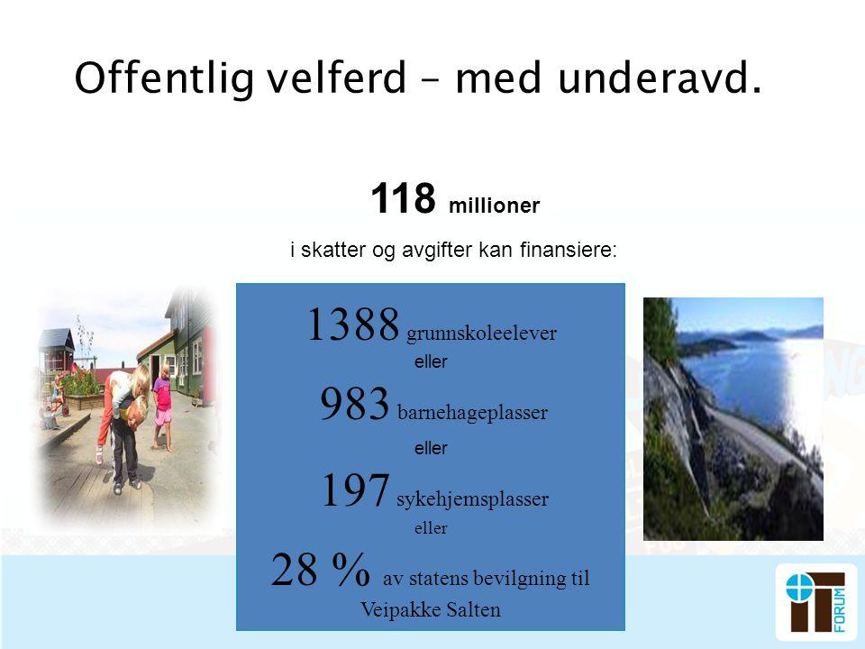 Offentlig velferd – med underavd. 1388 grunnskoleelever eller 983 barnehageplasser eller 197 sykehjemsplasser eller 28 % av statens bevilgning til Vei