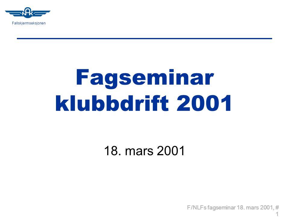 Fallskjermseksjonen F/NLFs fagseminar 18. mars 2001, # 1 Fagseminar klubbdrift 2001 18. mars 2001