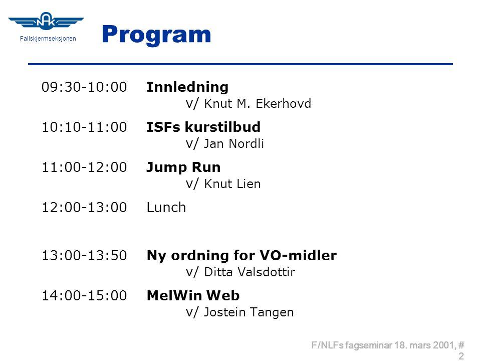 Fallskjermseksjonen F/NLFs fagseminar 18. mars 2001, # 2 Program 09:30-10:00 Innledning v/ Knut M.