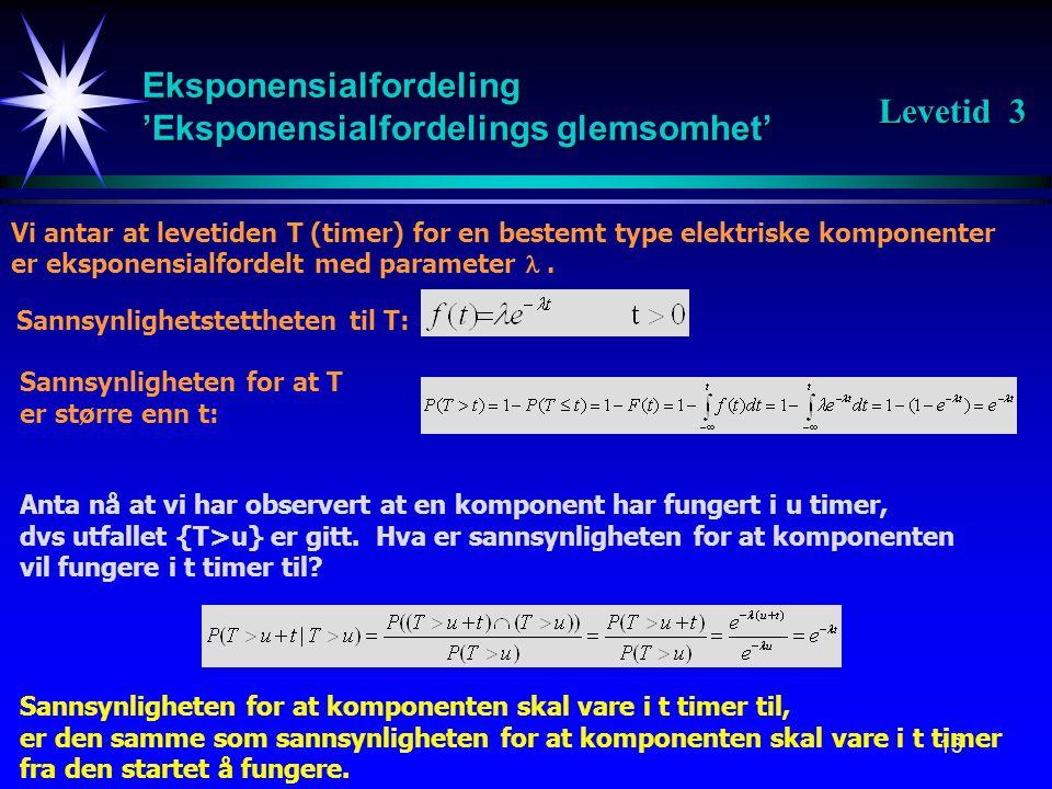 13 Eksponensialfordeling 'Eksponensialfordelings glemsomhet' Vi antar at levetiden T (timer) for en bestemt type elektriske komponenter er eksponensialfordelt med parameter .