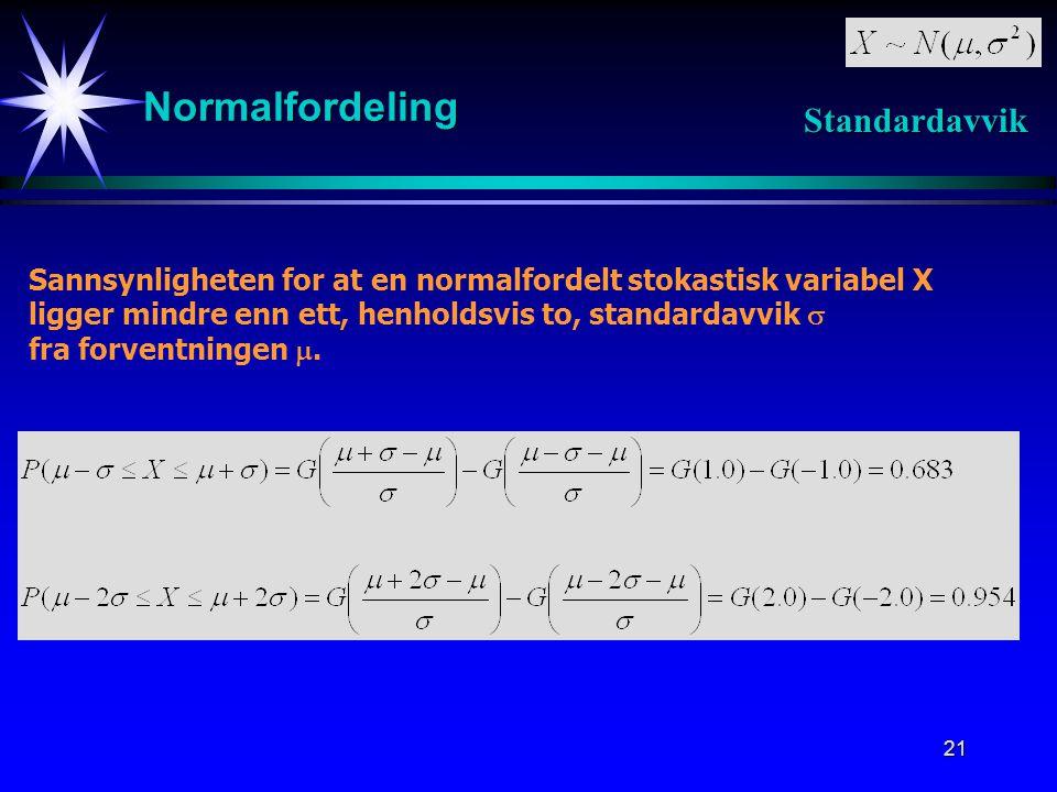 21 Normalfordeling Sannsynligheten for at en normalfordelt stokastisk variabel X ligger mindre enn ett, henholdsvis to, standardavvik  fra forventningen .