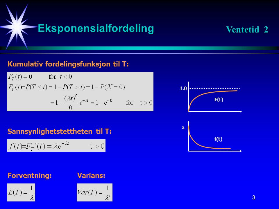 3 Eksponensialfordeling Kumulativ fordelingsfunksjon til T: Sannsynlighetstettheten til T: F(t) 1.0 f(t)  Forventning:Varians: Ventetid 2