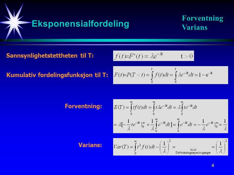 4 Kumulativ fordelingsfunksjon til T: Sannsynlighetstettheten til T: Forventning: Varians: Eksponensialfordeling Forventning Varians