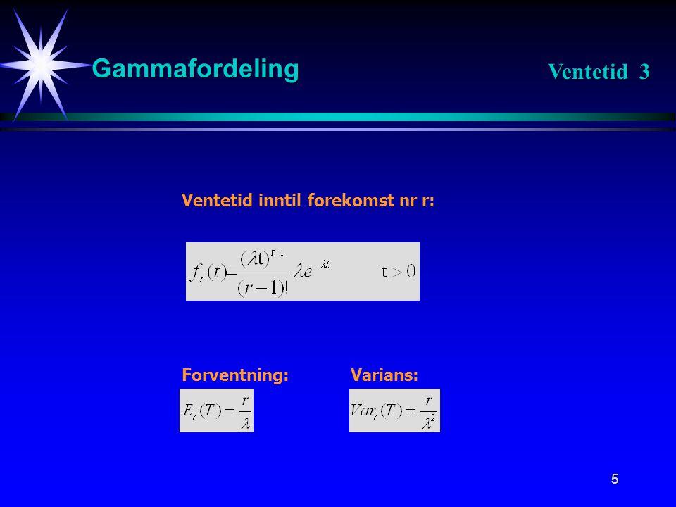 6 Gammafordeling T = Ventetid inntil forekomst nr r: Utledning av sannsynlighetstetthet