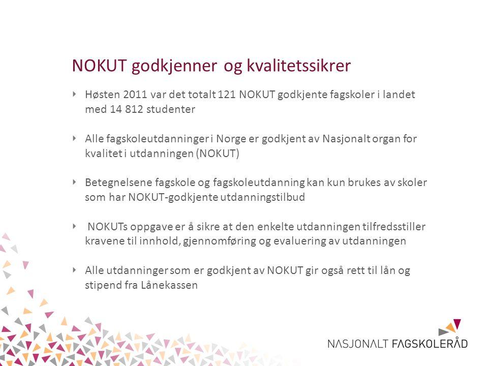 ‣ Høsten 2011 var det totalt 121 NOKUT godkjente fagskoler i landet med 14 812 studenter ‣ Alle fagskoleutdanninger i Norge er godkjent av Nasjonalt o