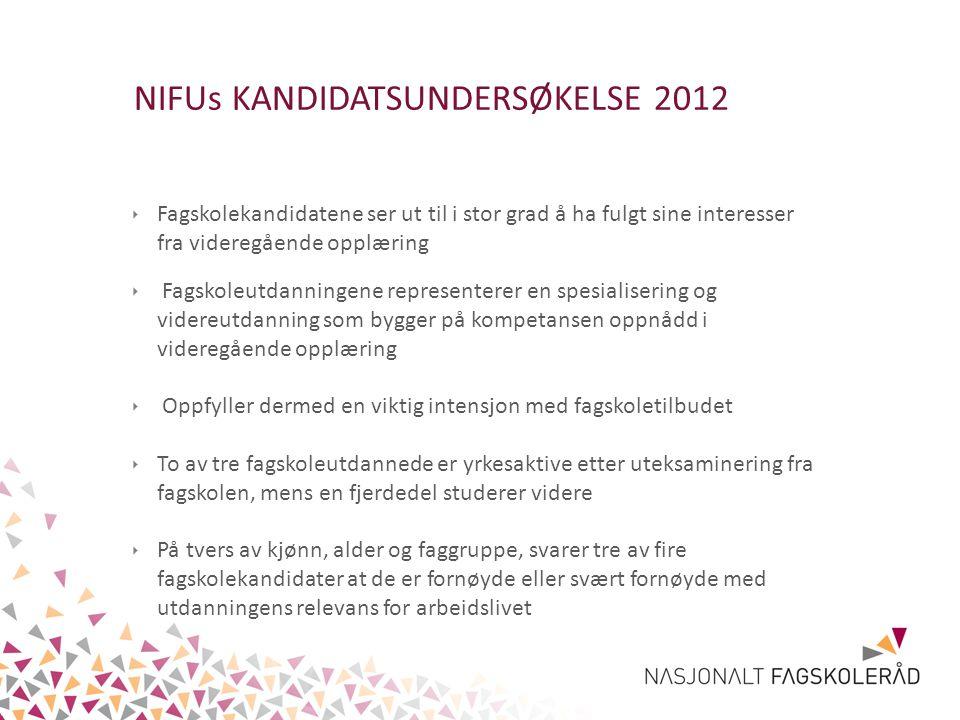 NIFUs KANDIDATSUNDERSØKELSE 2012 ‣ Fagskolekandidatene ser ut til i stor grad å ha fulgt sine interesser fra videregående opplæring ‣ Fagskoleutdannin