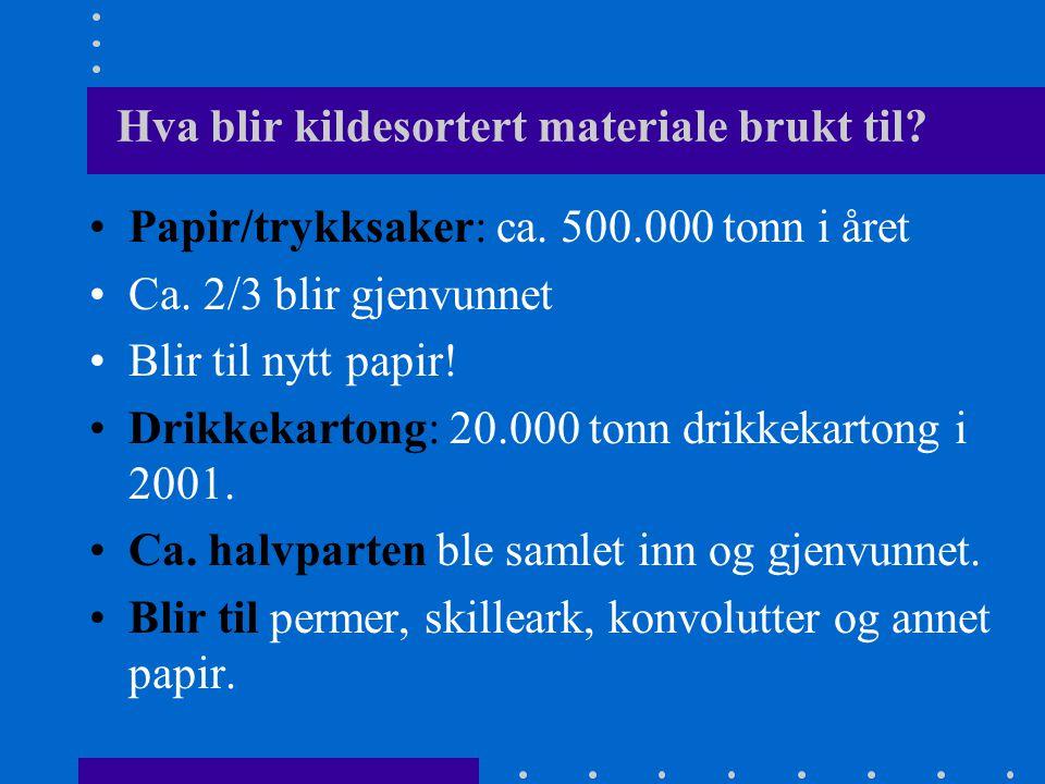 Hva blir kildesortert materiale brukt til? •Papir/trykksaker: ca. 500.000 tonn i året •Ca. 2/3 blir gjenvunnet •Blir til nytt papir! •Drikkekartong: 2