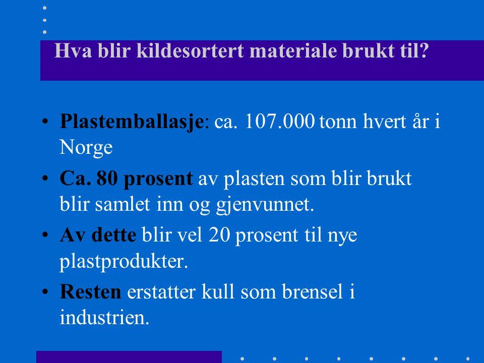 Hva blir kildesortert materiale brukt til? •Plastemballasje: ca. 107.000 tonn hvert år i Norge •Ca. 80 prosent av plasten som blir brukt blir samlet i
