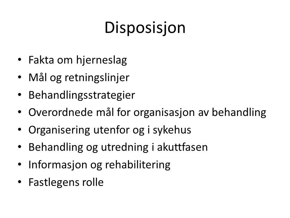 Disposisjon • Fakta om hjerneslag • Mål og retningslinjer • Behandlingsstrategier • Overordnede mål for organisasjon av behandling • Organisering uten
