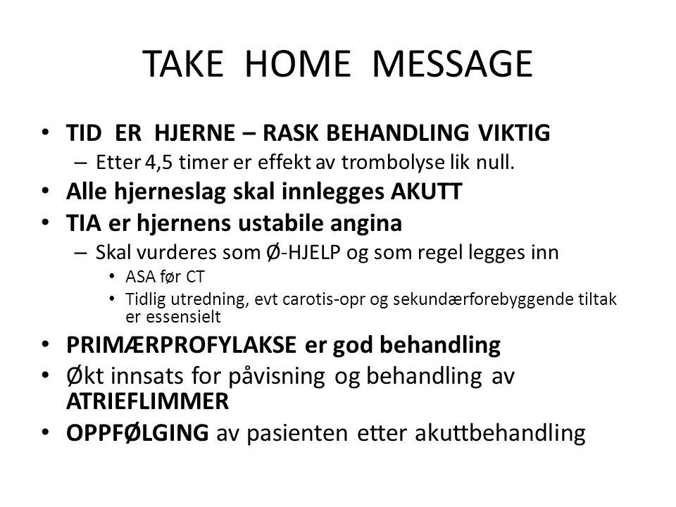 TAKE HOME MESSAGE • TID ER HJERNE – RASK BEHANDLING VIKTIG – Etter 4,5 timer er effekt av trombolyse lik null. • Alle hjerneslag skal innlegges AKUTT