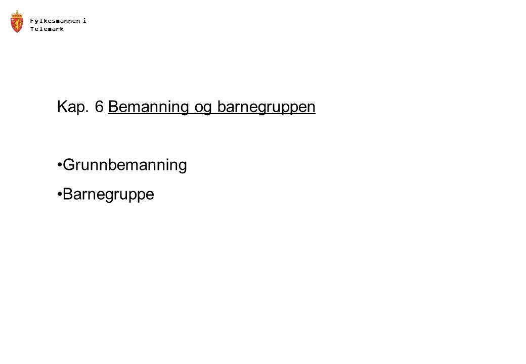 Fylkesmannen i Telemark Kap. 6 Bemanning og barnegruppen •Grunnbemanning •Barnegruppe