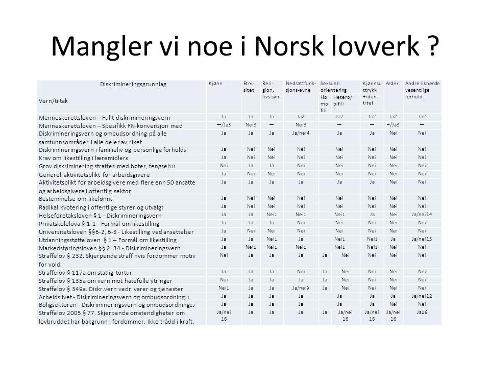 Mangler vi noe i Norsk lovverk ? Diskrimineringsgrunnlag Vern/tiltak KjønnEtni- sitet Reli- gion, livs-syn Nedsattfunk- sjons-evne Seksuell orienterin