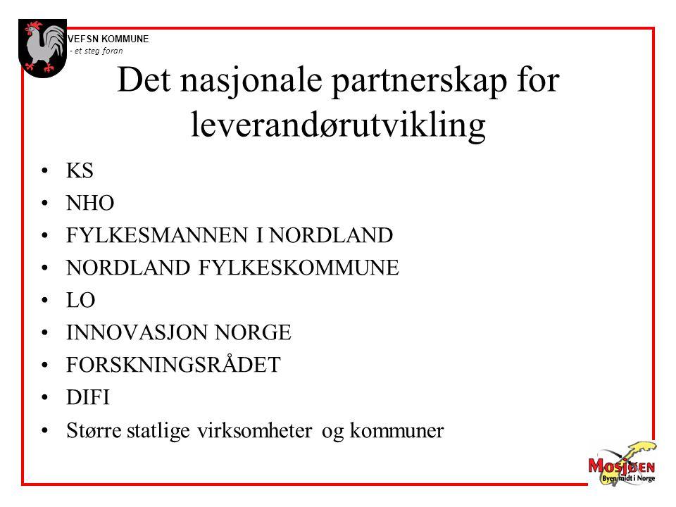 VEFSN KOMMUNE - et steg foran Det nasjonale partnerskap for leverandørutvikling •KS •NHO •FYLKESMANNEN I NORDLAND •NORDLAND FYLKESKOMMUNE •LO •INNOVAS