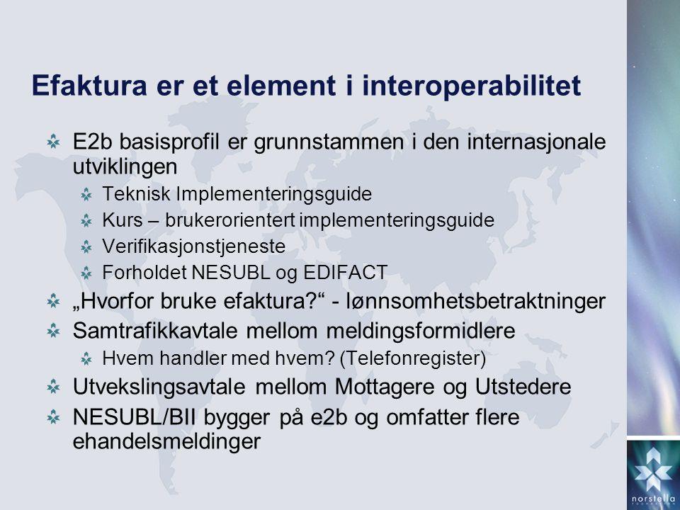 Efaktura er et element i interoperabilitet E2b basisprofil er grunnstammen i den internasjonale utviklingen Teknisk Implementeringsguide Kurs – bruker