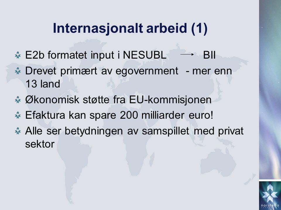 Internasjonalt arbeid (1) E2b formatet input i NESUBL BII Drevet primært av egovernment - mer enn 13 land Økonomisk støtte fra EU-kommisjonen Efaktura