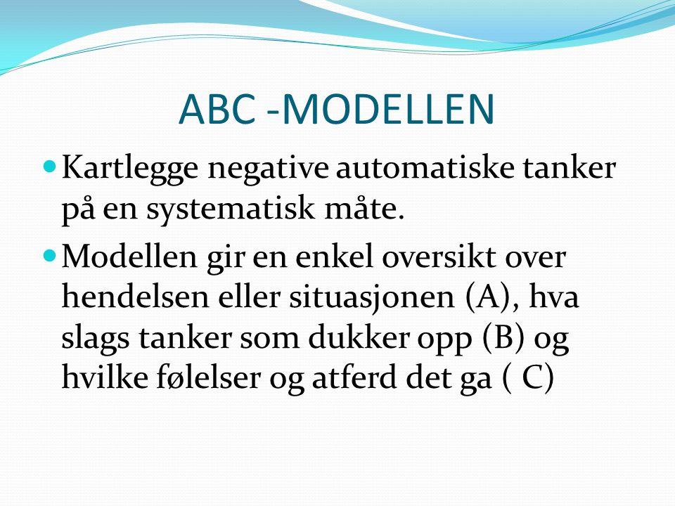 ABC -MODELLEN  Kartlegge negative automatiske tanker på en systematisk måte.  Modellen gir en enkel oversikt over hendelsen eller situasjonen (A), h