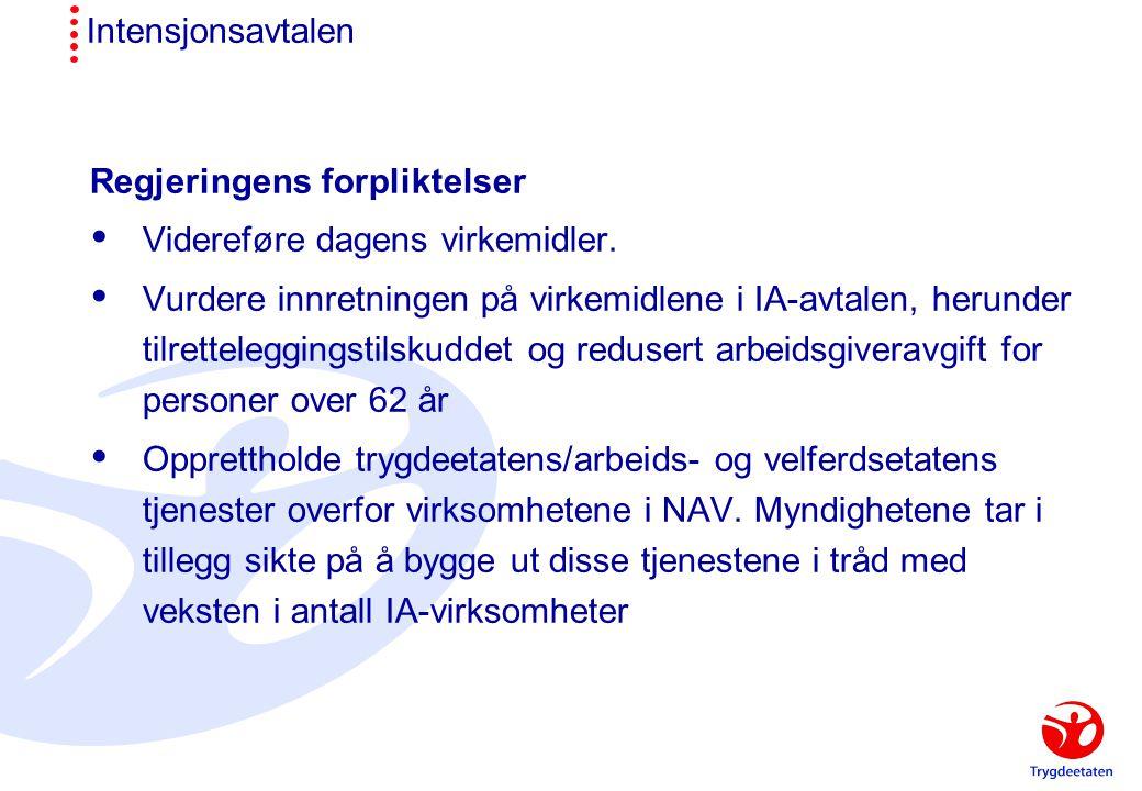 Intensjonsavtalen Regjeringens forpliktelser  Videreføre dagens virkemidler.