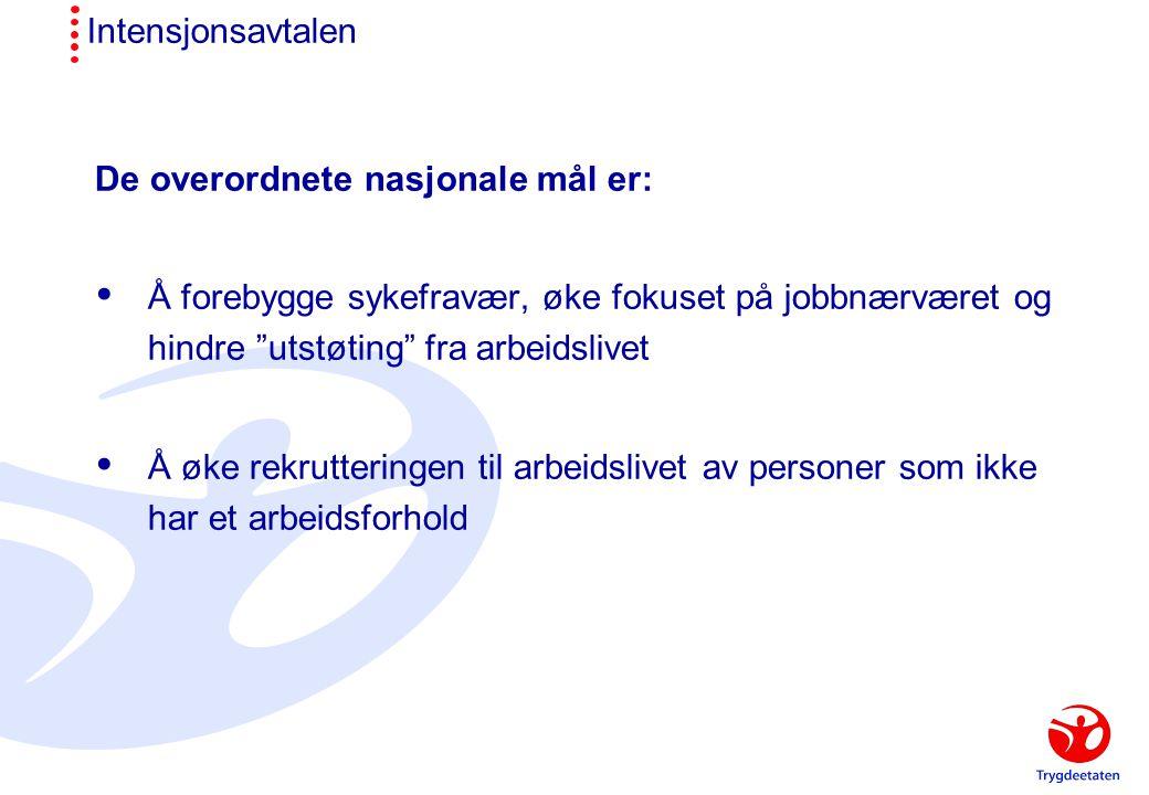 Intensjonsavtalen De overordnete nasjonale mål er:  Å forebygge sykefravær, øke fokuset på jobbnærværet og hindre utstøting fra arbeidslivet  Å øke rekrutteringen til arbeidslivet av personer som ikke har et arbeidsforhold