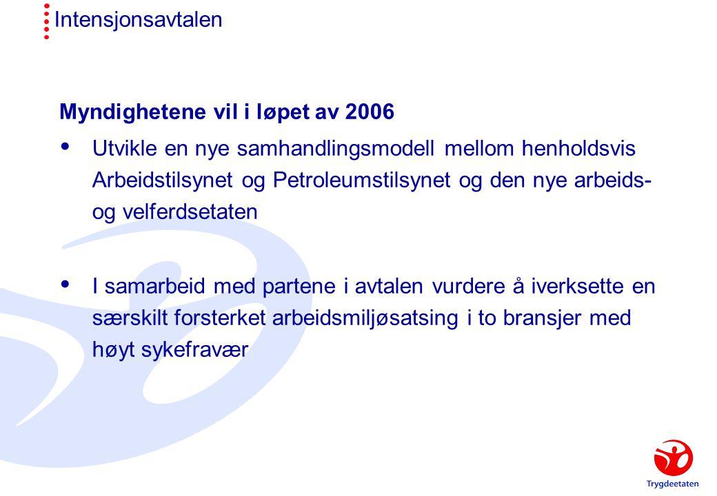 Intensjonsavtalen Myndighetene vil i løpet av 2006  Utvikle en nye samhandlingsmodell mellom henholdsvis Arbeidstilsynet og Petroleumstilsynet og den nye arbeids- og velferdsetaten  I samarbeid med partene i avtalen vurdere å iverksette en særskilt forsterket arbeidsmiljøsatsing i to bransjer med høyt sykefravær