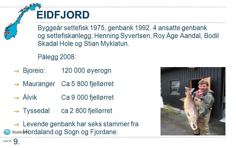 side 14 9. feb. 201 0 EIDFJORD Byggeår settefisk 1975, genbank 1992. 4 ansatte genbank og settefiskanlegg; Henning Syvertsen, Roy Åge Aandal, Bodil Sk