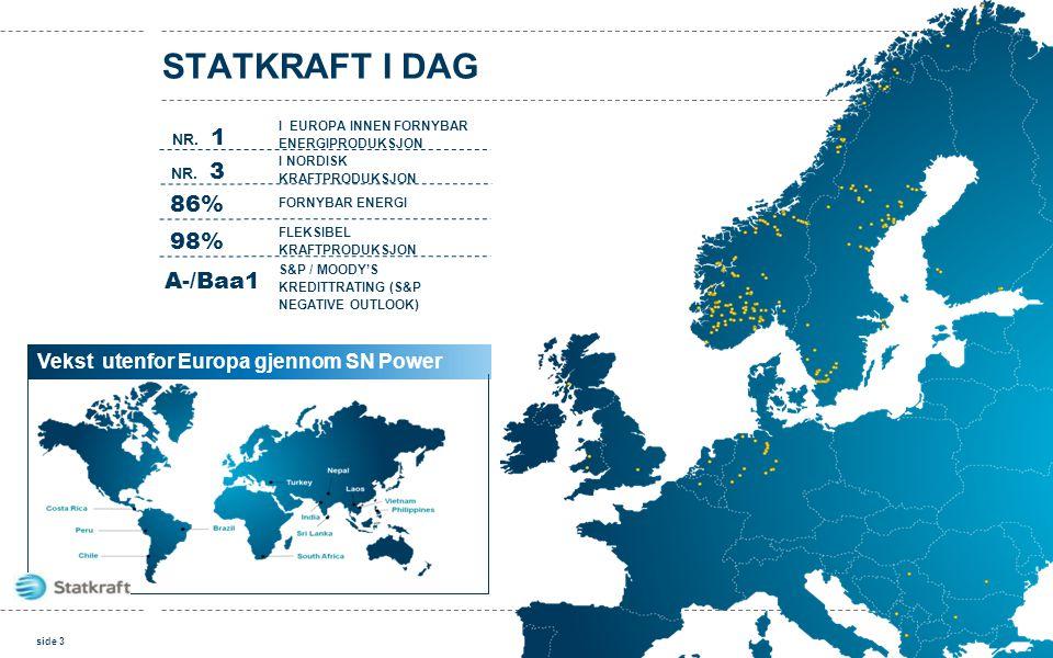 86% FLEKSIBEL KRAFTPRODUKSJON FORNYBAR ENERGI I EUROPA INNEN FORNYBAR ENERGIPRODUKSJON NR. 1 98% NR. 3 I NORDISK KRAFTPRODUKSJON A-/Baa1 S&P / MOODY'S