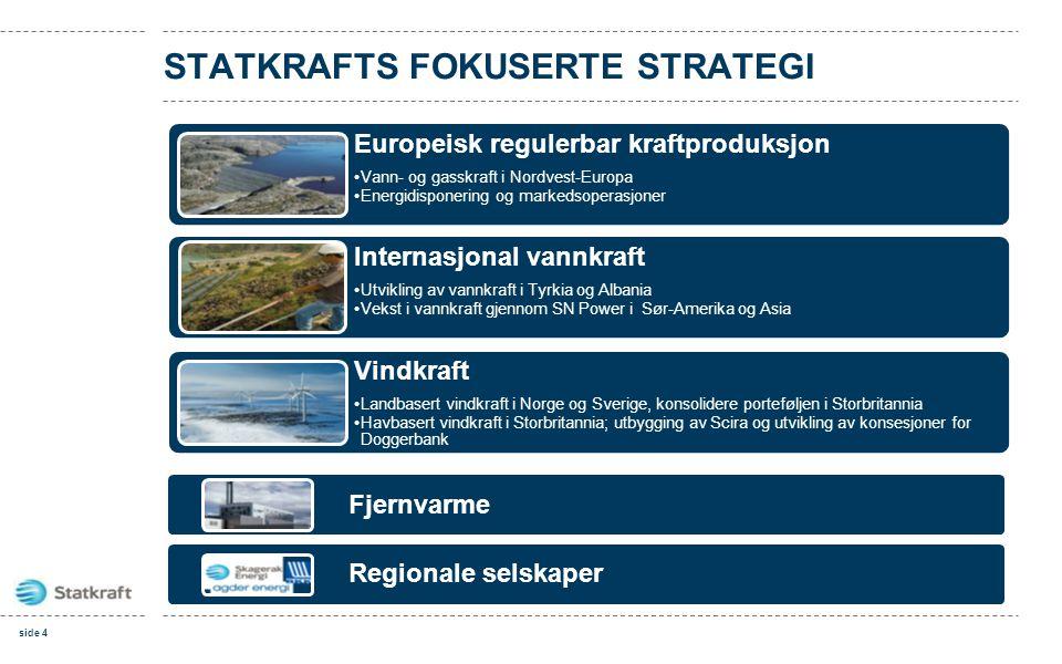 STATKRAFTS FOKUSERTE STRATEGI Fjernvarme Regionale selskaper Europeisk regulerbar kraftproduksjon •Vann- og gasskraft i Nordvest-Europa •Energidispone