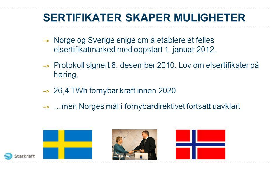 SERTIFIKATER SKAPER MULIGHETER Norge og Sverige enige om å etablere et felles elsertifikatmarked med oppstart 1. januar 2012. Protokoll signert 8. des