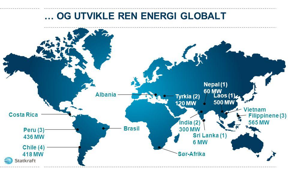 Brasil Chile (4) 418 MW Laos (1) 500 MW Peru (3) 436 MW Albania Tyrkia (2) 120 MW Costa Rica Sør-Afrika India (2) 300 MW Nepal (1) 60 MW Vietnam Filip