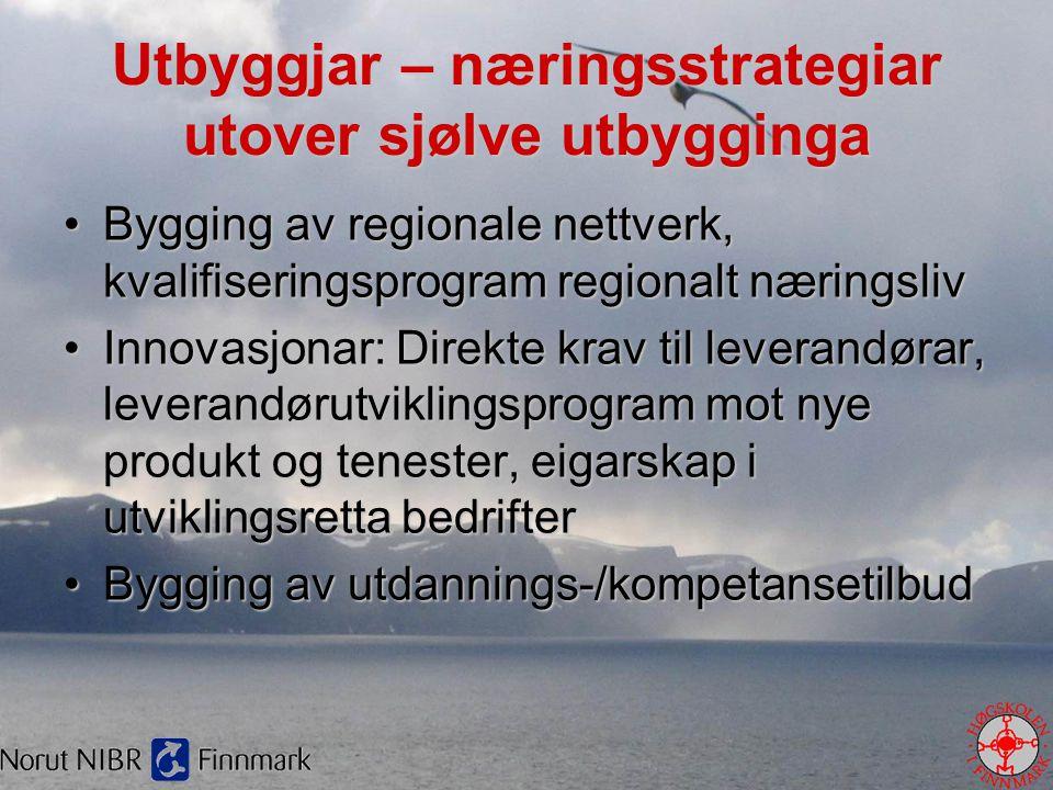 Utbyggjar – næringsstrategiar utover sjølve utbygginga •Bygging av regionale nettverk, kvalifiseringsprogram regionalt næringsliv •Innovasjonar: Direk