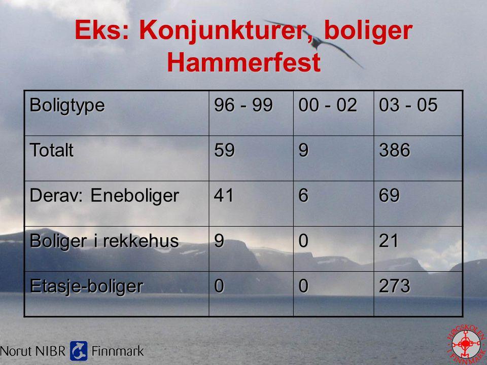 Eks: Konjunkturer, boliger Hammerfest Boligtype 96 - 99 00 - 02 03 - 05 Totalt599386 Derav: Eneboliger 41669 Boliger i rekkehus 9021 Etasje-boliger002