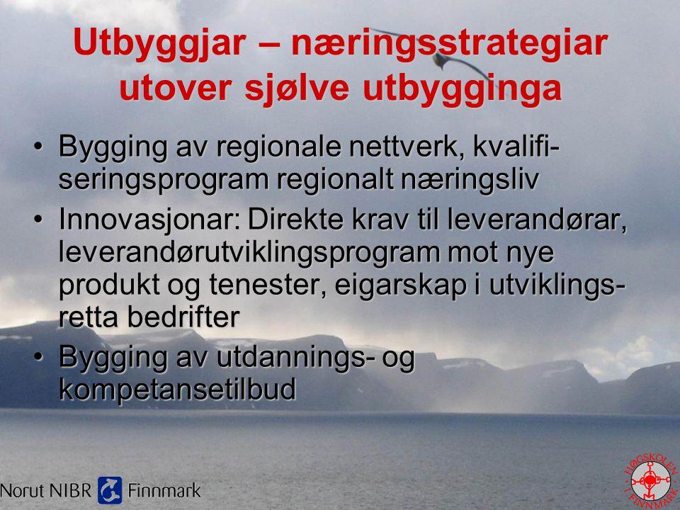 Utbyggjar – næringsstrategiar utover sjølve utbygginga •Bygging av regionale nettverk, kvalifi- seringsprogram regionalt næringsliv •Innovasjonar: Dir