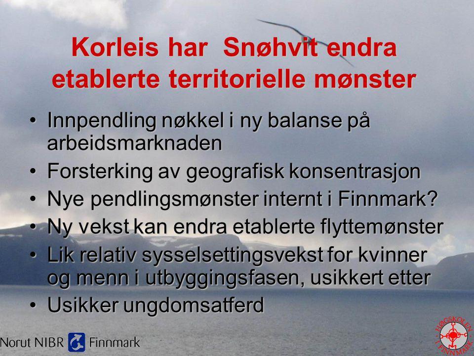 Korleis har Snøhvit endra etablerte territorielle mønster •Innpendling nøkkel i ny balanse på arbeidsmarknaden •Forsterking av geografisk konsentrasjo