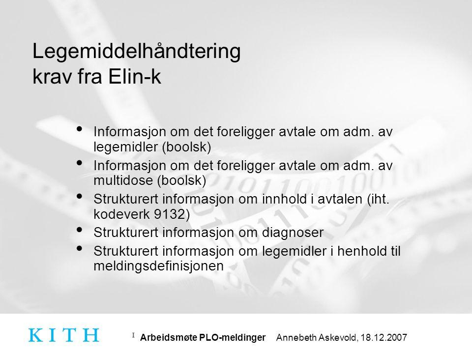 Arbeidsmøte PLO-meldinger Annebeth Askevold, 18.12.2007 Forslag til eResept – fase 1
