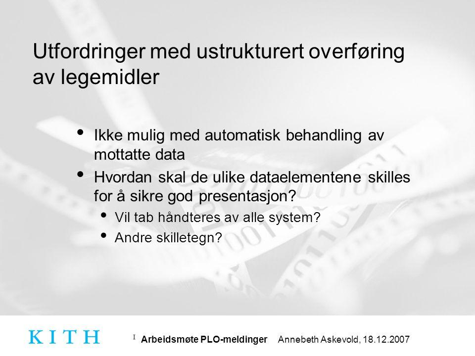 Arbeidsmøte PLO-meldinger Annebeth Askevold, 18.12.2007 Endringer i kravspekk • Generelt funksjonskrav: Sending av meldinger uten at pasientens identitet fremkommer • Dette kravet er tatt ut.