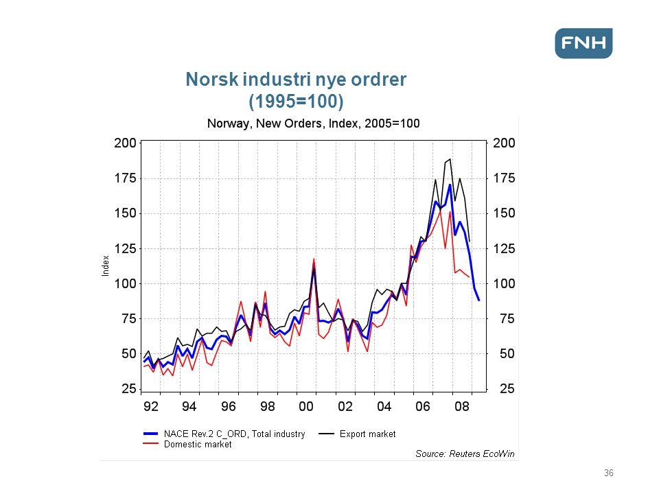 Norsk industri nye ordrer (1995=100) 36