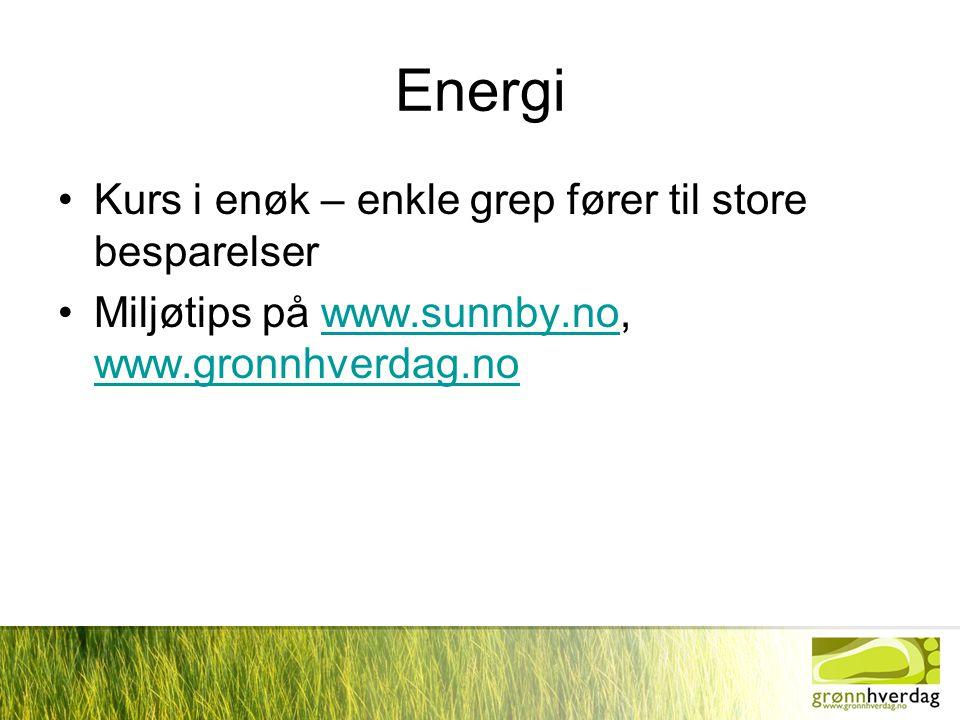 Energi •Kurs i enøk – enkle grep fører til store besparelser •Miljøtips på www.sunnby.no, www.gronnhverdag.nowww.sunnby.no www.gronnhverdag.no