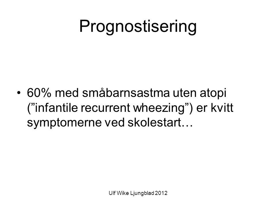 Ulf Wike Ljungblad 2012 Prognostisering •60% med småbarnsastma uten atopi ( infantile recurrent wheezing ) er kvitt symptomerne ved skolestart…